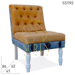 SS1192 Suren Space Velvet Jeans Fabric Tufted Restaurant & Room Accent Chair