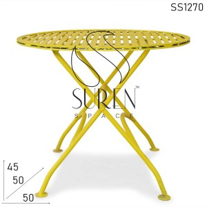 SS1270 Suren Space Yellow Metal Outdoor Folding Coffee Center Table