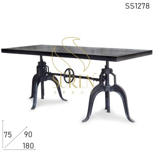 SS1278 Suren Space Cast Iron Adjustable Outdoor Restaurant & Bar Height Table