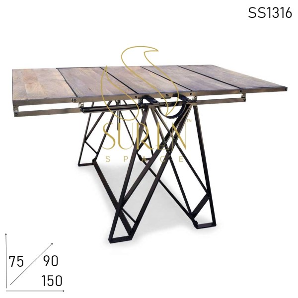 SS1316 Suren Space Metal Industrial Mango Wood Dining Restaurant Table