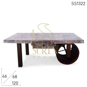 SS1322 Suren Space Round Metal Wheel Aara Finish Mango Wood Coffee Table