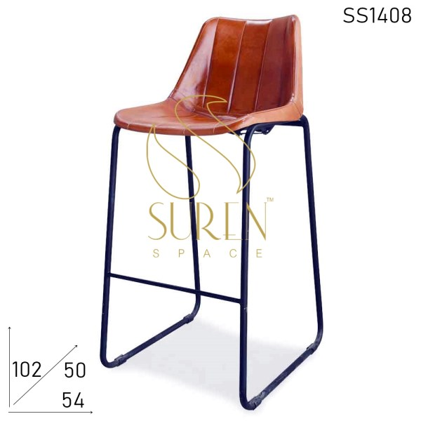 SS1408 Suren Space Metal Base Leather Seat Industrial Bar Pub Chair