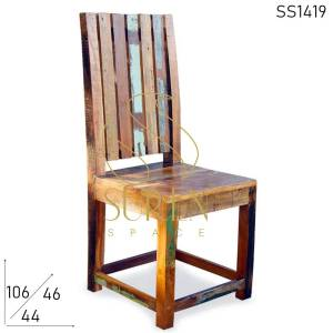 SS1419 Suren Space Multicolored Artistic Old Wood Recycled Restaurant Chair