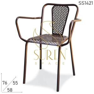 SS1421 Suren Space All-Weather Stackable Metal Chairs For Cafe Event & Outdoor