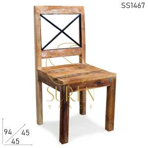 SS1467 Suren Space Distress Old Wood Sedia in stile indiano