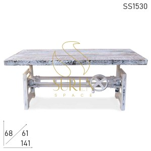 SS1530 Suren Space White Distress Adjustable Cast Iron Center Table Design
