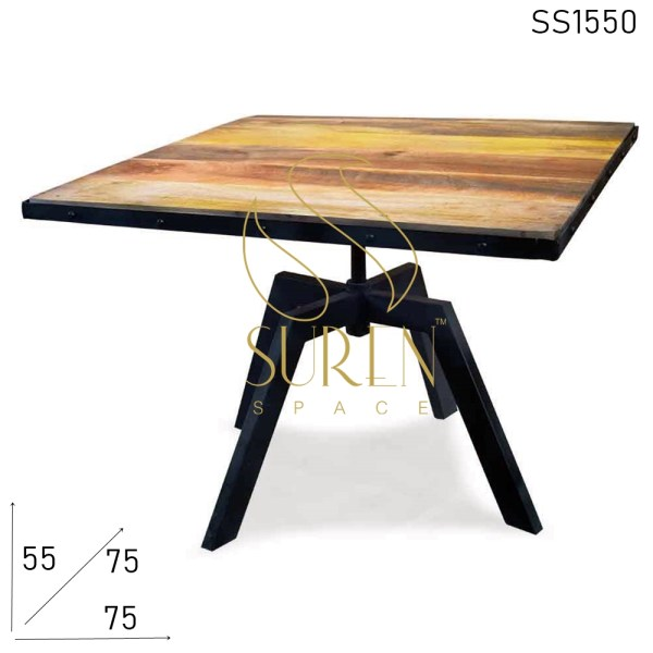 SS1550 Suren Space Metal Legs Solid Wood Industrial Coffee Table Design
