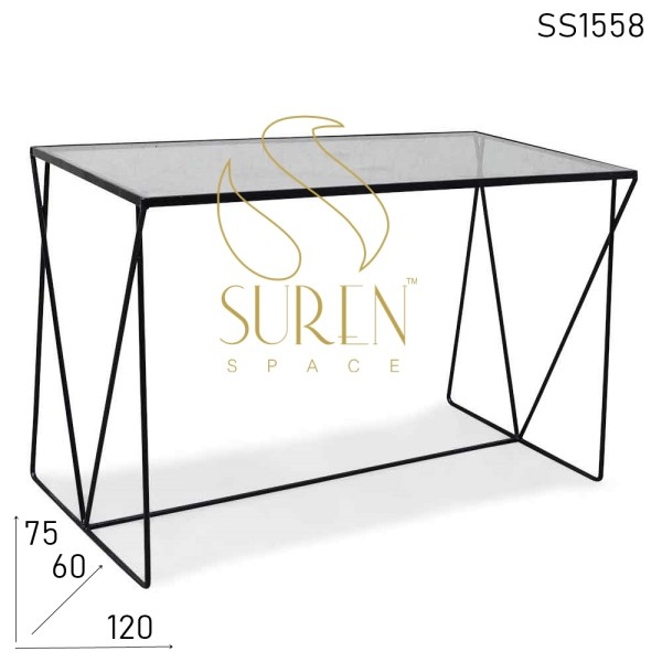 SS1558 Suren Space Metal Glass Minimalist Rectangle Regular Industrial Table