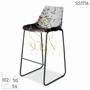 SS1716 Suren Space Buff Printed Leather Metal Frame Bar Pub Chair