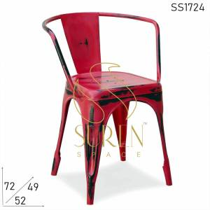 Chaise SS1724 Suren Space Red Distress Metal Stackable Bistro Cafe