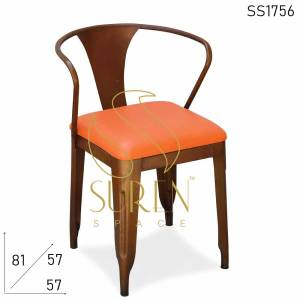SS1756 Suren Space Rustic Rexine Hand Rest Metal Chair