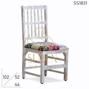 SS1831-1 Suren Space Carved Distress Traditional Fabric Restaurant Chair