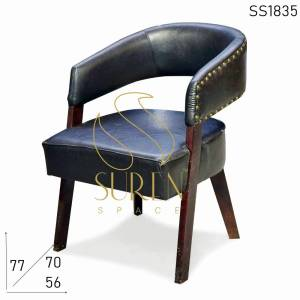 SS1835 Suren Space Pure Leather Fine Dine Restaurant Chair with Wood Structure
