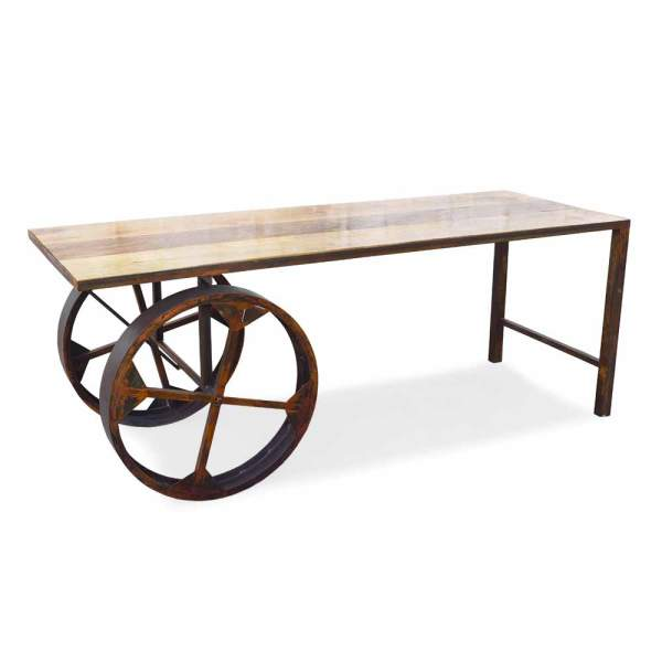 SS1958 Suren Space Rustic Wheel Industrial Metal Base Solid Wood Table