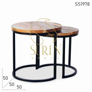 SS1978 Suren Space Set of Two Reclaimed Wood Center Coffee Table