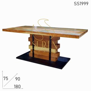 SS1999 Suren Space Solid Wood Industrial Heavy Base Restaurant Dining Table