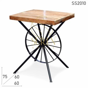 SS2010 Suren Space Single Round Wheel Solid Acacia Wood Cafe Bistro Table