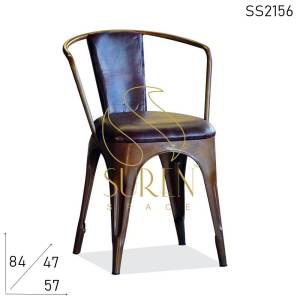 SS2156 Suren Space Genuine Leather Seat & Back Metal Rustic Industrial Chair