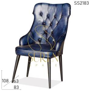 SS2183 Suren Space Blue Leather Tufted High Back Fine Dine Restaurant Chair
