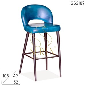 SS2187 Round Back Leather Seat Back Metal Frame Bar Pub Chair
