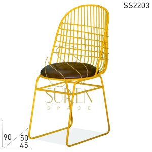SS2203 Suren Space Yellow Solid Metal Leather Seating Bistro Cafeteria Chair