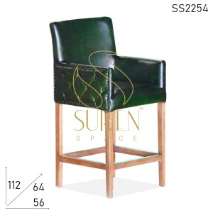 SS2254 Suren Space Tufted Leather Wooden Frame Luxury Bar Chair Design