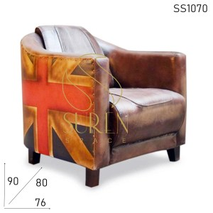 SS1070 English Flag Pattern Colonial Style Hotel Accent Chair
