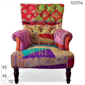 SS1114 Indian Old Traditional Colorful Fabric Resort Accent Chair