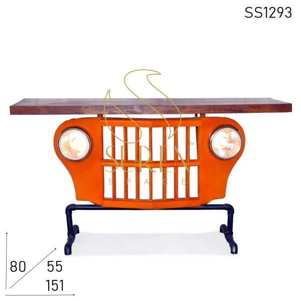 SS1293 Suren Space Old Jeep Upcycled Automobile Console Table