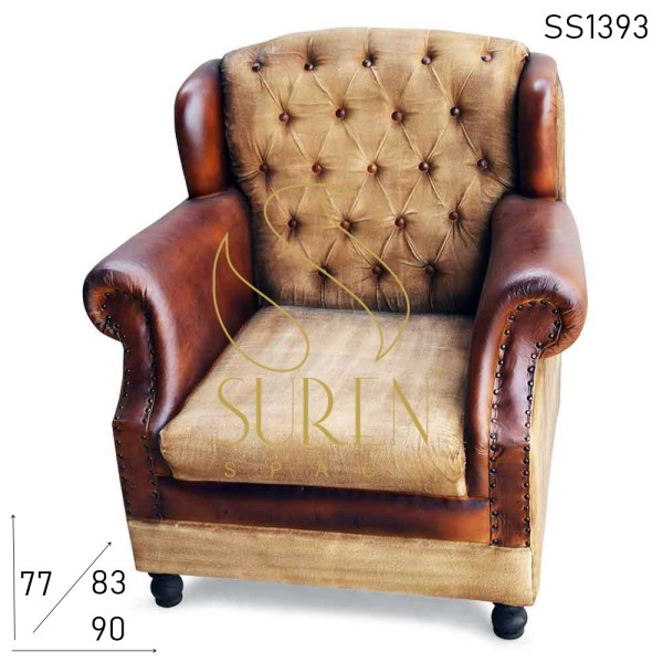 SS1393 Suren Space Tufted Wing Back Canvas Leather Restaurant Sofa
