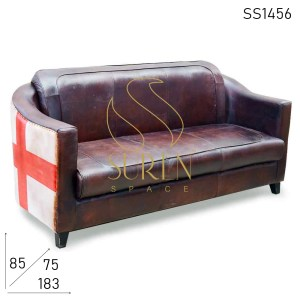 SS1456 Suren Space Country Flag Vintage Design Goat Leather Three Seater Sofa