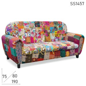 SS1457 Suren Space Round Arm & Back Multicolored Three Seater Sofa Design