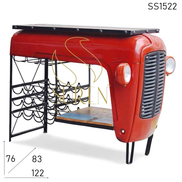 SS1522 Suren Space Red Shine Metal Automobile Open Bar Cabinet