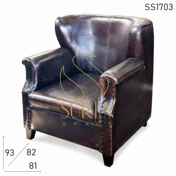 SS1703 Suren Space Wing Back Pure Leather Shiny Finish Single Seater