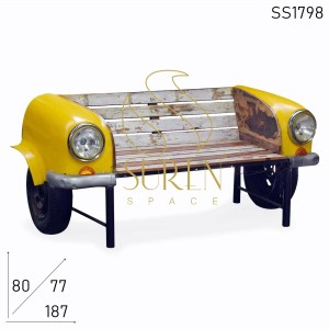 SS1798 Suren Space Farmhouse Design Automobile Car Style Reclaimed Wood Bench Sofa