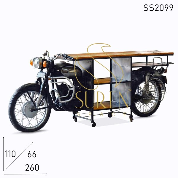 SS2099 Suren Space Indian Old Moped Design Display Cum Service Counter