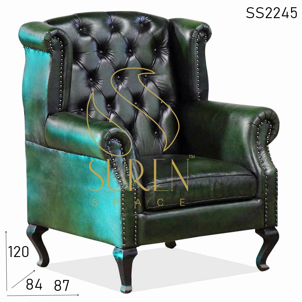 SS2245 Suren Space Maharaja Style Roll Arm Wing Back Leather Single Sofa Design
