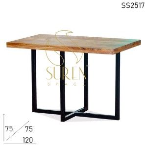 SS2517 Suren Space Solid Acacia Wood Natural Finish Metal Frame Restaurant Dining Table