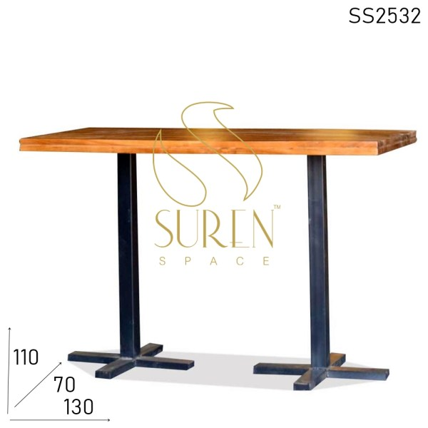 SS2532 Suren Space Metal Industrial Solid Wood Folding Two Legs Bar Pub Table