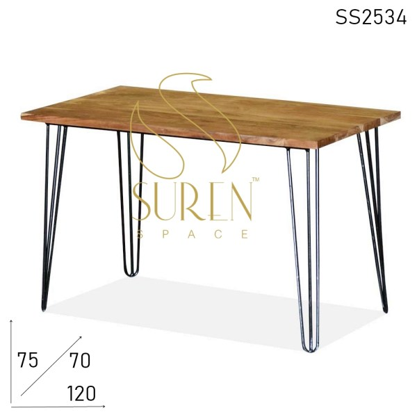 SS2534 Suren Space Acacia Solid Wood Metal Base Folding Dining Table
