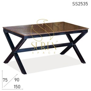 SS2535 Suren Space Granite Top Cross Leg Metal Outdoor Dining Table