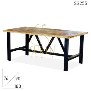 SS2551 Suren Space Solid Wood Natural Finish Black Base Restaurant Dining Table
