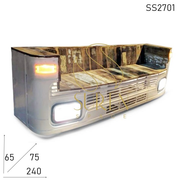 SS2701 Suren Space Old Truck Indian Style Handcrafted Automobile Long Bench Sofa