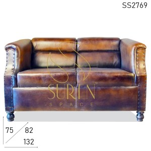 SS2769 Suren Space Pure Leather Antique Finish Two Seater Sofa