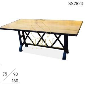 SS2823 Suren Space Cross Cast Iron Metal Folding Base with Solid Wood Top
