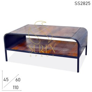 SS2825 Suren Space Reclaimed Wood Metal Base Storage Coffee Center Table
