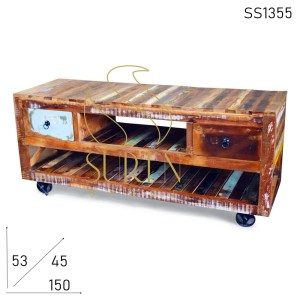 SS1355 Suren Space Indian Reclaimed Wood Wheel Base Entertainment Unit
