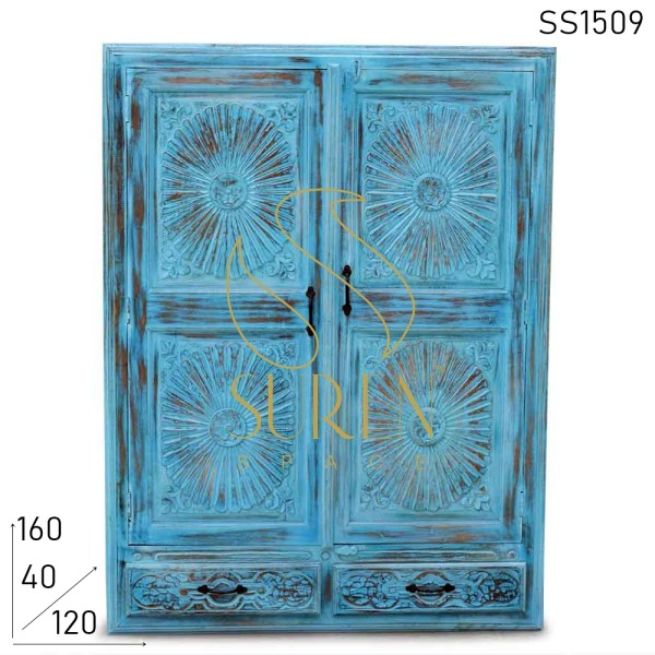 SS1509 Suren Space Small Height Hand Carved Distress Finish Room Almirah