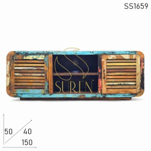 SS1659 Suren Space Unique Shutter Design Reclaimed Wood Entertainment Unit Design