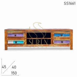 SS1661 Suren Space Handmade Design Indian Wood Living Room TV Cabinet Furniture